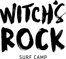 black vertical witch's rock surf camp logo