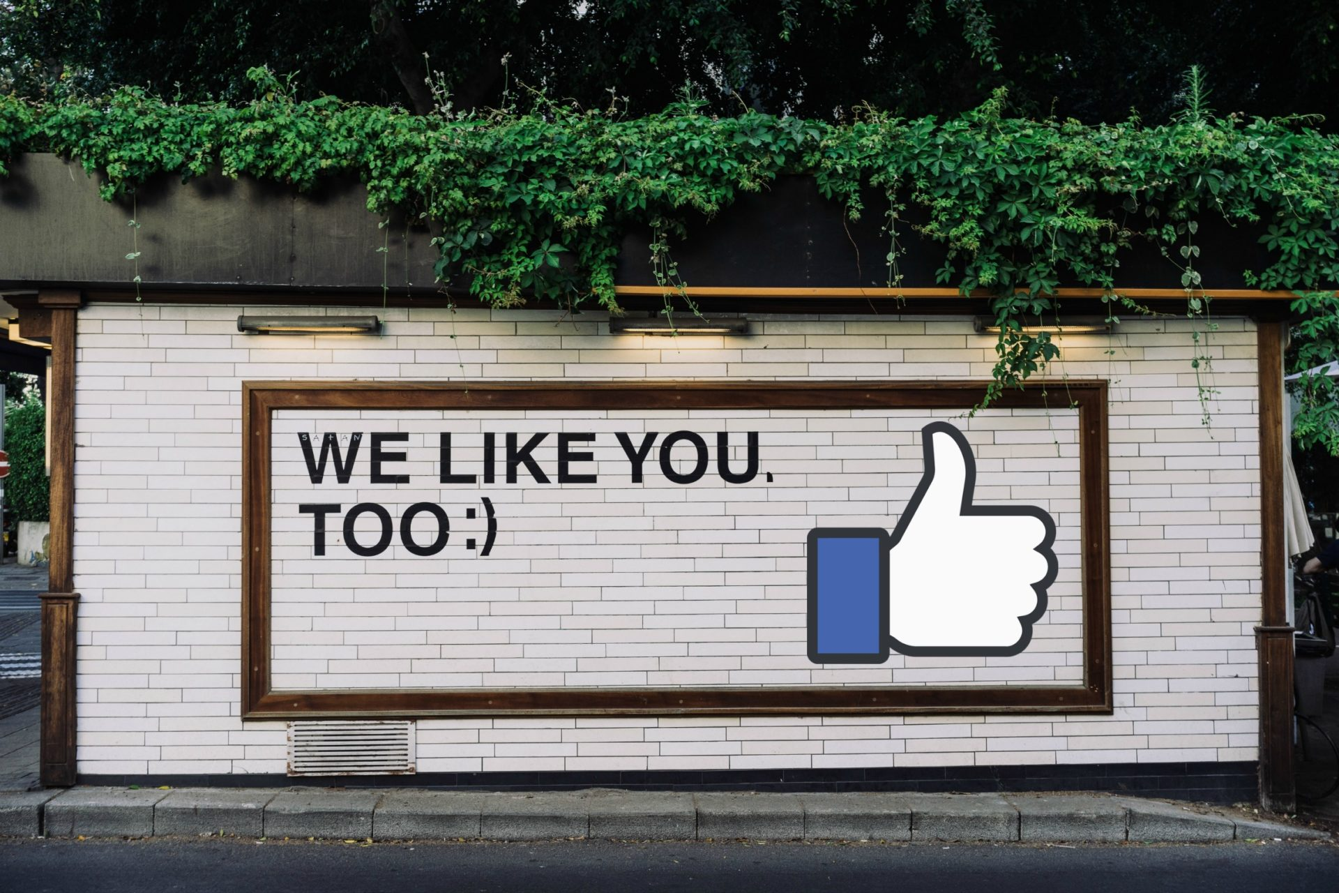sign on brick wall with facebook likes symbol