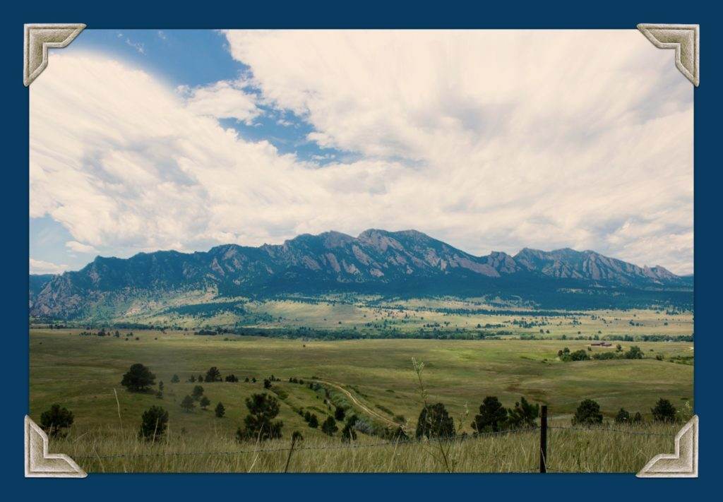 filed and mountains in Boulder Colorado