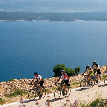 four people riding bicycles near the ocean