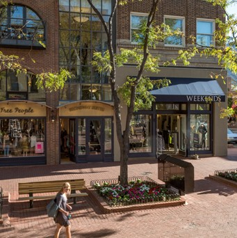 Pearl Street in Boulder Colorado during the day