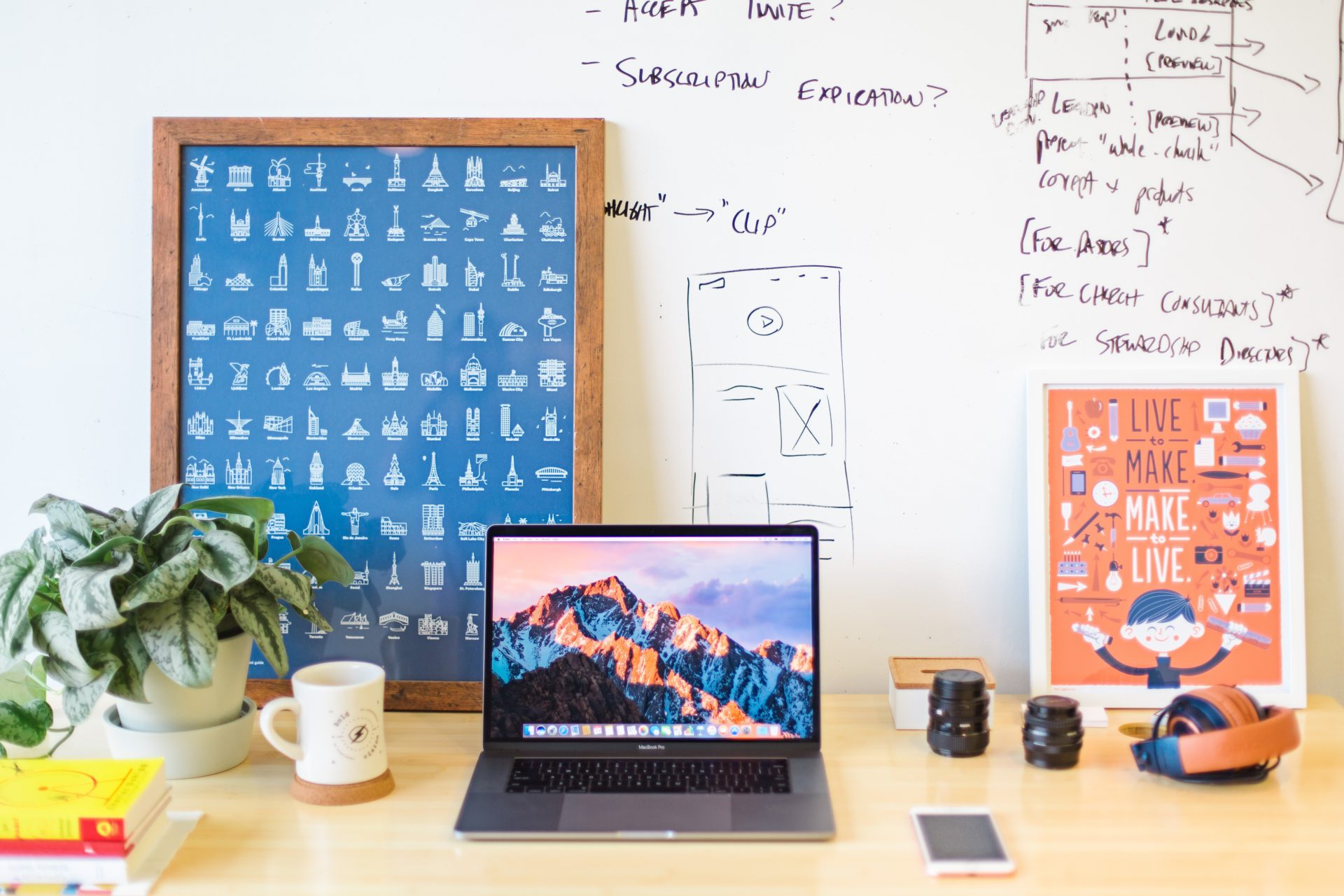 colorful desk with laptop